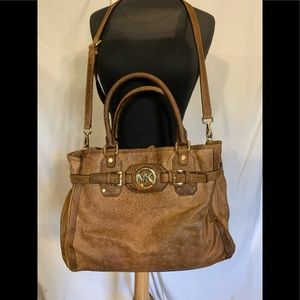 Micheal Kors distressed leather embossed ostrich